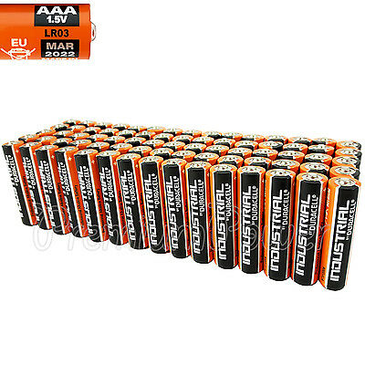 75 Duracell AAA batteries Industrial Procell Alkaline LR03 MN2400 1.5V EXP 2022