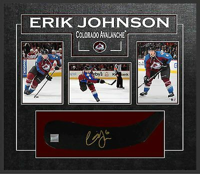 Erik Johnson - Signed & Framed Coloardo Avalanche Stickblade Featuring 3 Collect