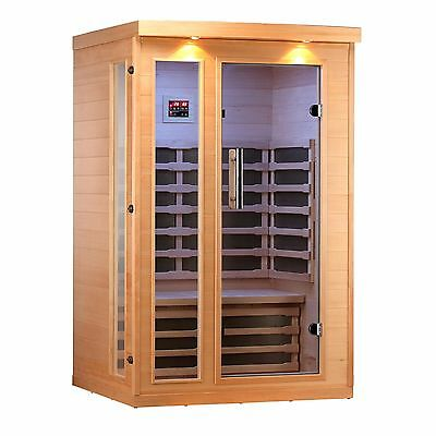 2-Person Sauna with 8 Carbon FAR Infrared Heaters, Bluetooth Audio, LEDs