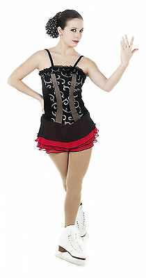 NEW COMPETITION SKATING DRESS Elite Xpression 1410 Black Lace Red Adult Small