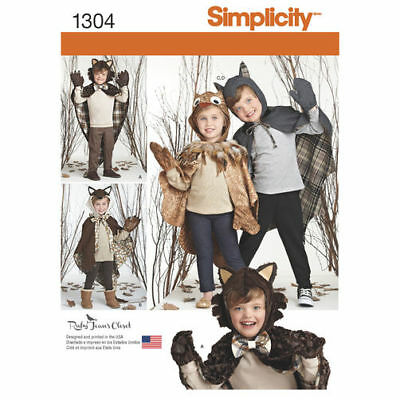 SIMPLICITY 1304 Childs Lined Animal Cape Fox Owl Wolf Halloween Costumes Pattern