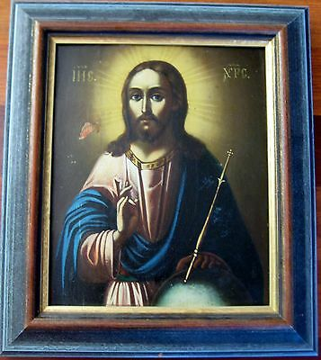 ANTIQUE RUSSIAN  ORTHODOX CHRISTIAN ICON JESUS CHRIST LATE 1800s FRAMED