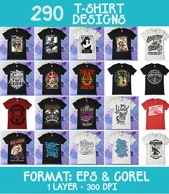 290 Vectors Clipart-T-Shirt Screen Printing Designs -Eps & Cdr