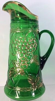 Grapes And Lattice Water Tankard Green With Gold Pattern Glass Dugan 1910 EAPG