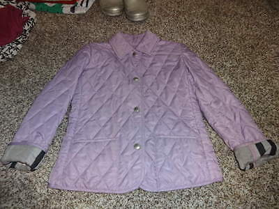 Burberry Girls 6Y 6 Purple Quilted Coat