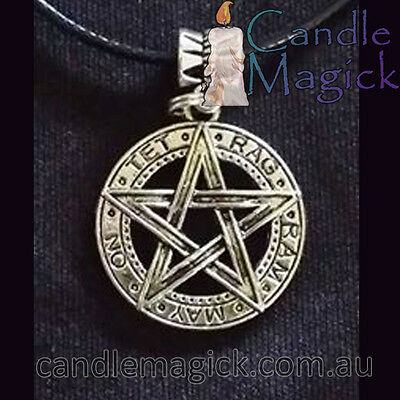 Pagan Silver Pentagram on Black cord necklace - AUSSIE SELLER - by Candle Magick