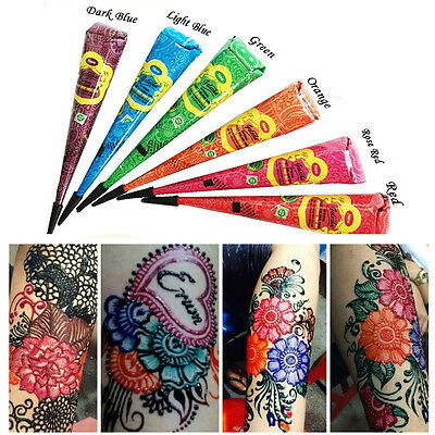 11Color Natural Herbal Henna Cones Temporary Tattoo Body Art Paint Mehandi Ink A