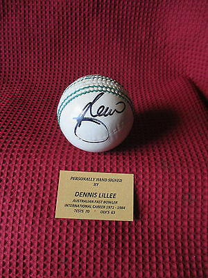 Dennis Lillee Australia Test Bowling Legend Hand Signed White Cricket Ball - Coa