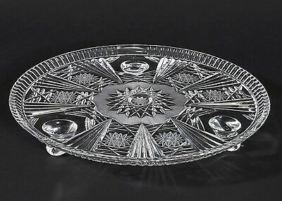 Vintage American Brilliant Round Cut Glass Tray Footed Star Burst ABP 13.25 Cake