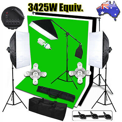 3425W Photography Studio Softbox Lighting Soft Box Boom Light Stand Backdrop Kit