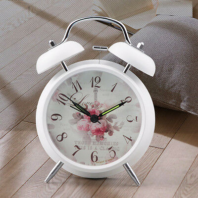 Classic Double-Bell Silent Alarm Clock  Flower Quartz Bedside With Night Light