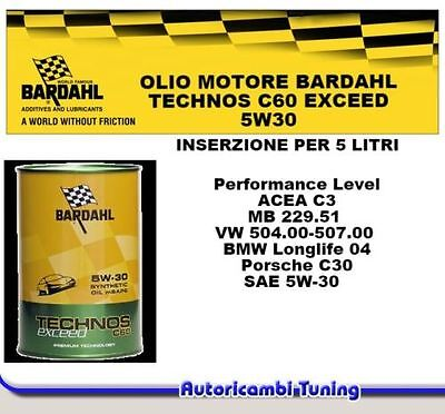 5 Litri Olio Motore Bardahl Technos C60 Exceed 5W30 C3 Mb 229.51 Vw 50400 50700