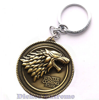 Game of Thrones: House Stark Dire Wolf Pendant Metal Keyring Keychain