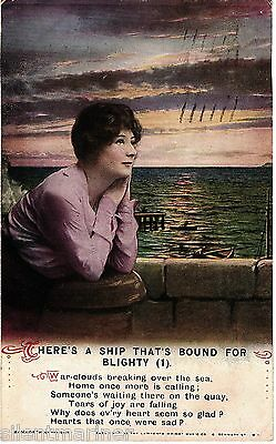 Bamforth song postcard, There's a Ship That's Bound for Blighty (1), posted 1923