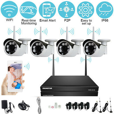 AU 4CH Wireless NVR Kit  System Wifi HD IR 720P IP Camera Outdoor  CCTV Security