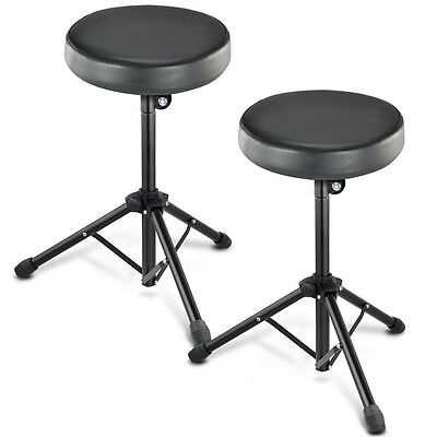 2X Black Swivel and Adjustable Double Braced Percussion Drum Stool Throne Pad