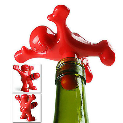 Creative Red Happy Man Wine Bottle Cap Funny Stopper Corkscrew Bar Tool Gift XCD