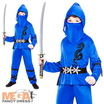 Blue Ninja Boys Fancy Dress Japanese Samurai Warrior Kids Childs Costume Outfit  sc 1 st  PicClick UK & BLUE NINJA BOYS Fancy Dress Japanese Samurai Warrior Kids Childs ...