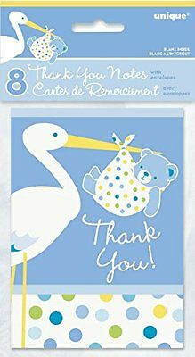 Blue Stork Boy Baby Shower Thank You Note Cards, 8ct