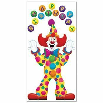 Birthday Clown Door Cover Party Accessory (1 count) (1/Pkg)