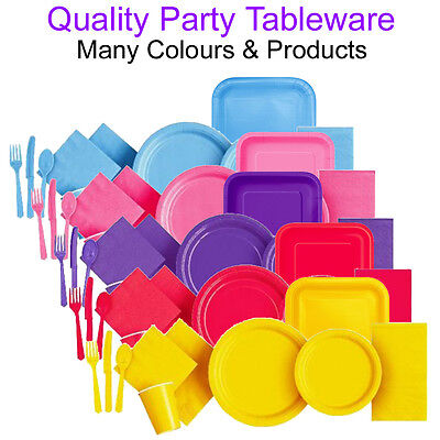 Party Paper Plates Napkins Cutlery Cups Plastic Disposable Tableware Throw Away