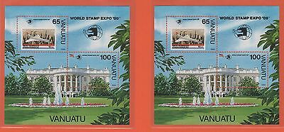 VANUATU 2 feuillets timbres neufs 1989 World Stamp Expo 89  /T373