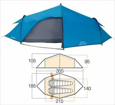 Vango Bravo 200 2 Person Active Adventure Tent Blue Vango