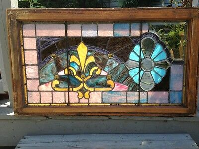 Asymmetrical Victorian Stained Glass Landing Window with Jewels Fleur de Lys
