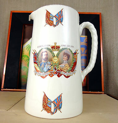 Antique Large Jug King George V & Queen Mary Commemorative Coronation Pountney
