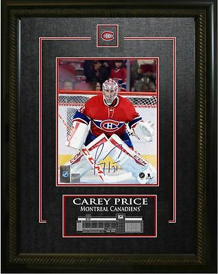 """Carey Price - Signed & Framed 8x10"""" Etched Mat Montreal Canadiens Red Action"""