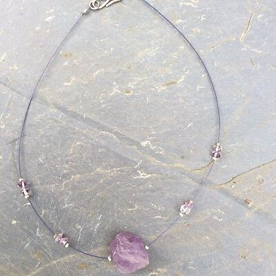 Vintage Natural amethyst nugget necklace. Irish made art jewellery gift craft