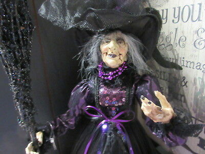 New Creepy Good Lg Halloween Witch doll Tree topper