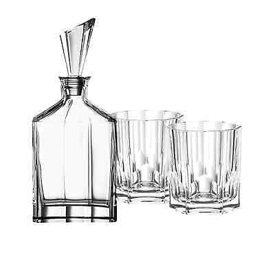 NEW Nachtmann Aspen Whisky Glass 3pc Set Decanter with 2 Whiskey Tumblers (RRP $