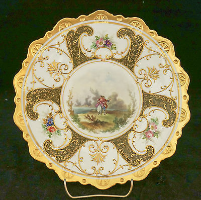 1870-1910 Fischer Mieg Oepiag Epiag Hand Painted Figural Cabinet Plate GOLD