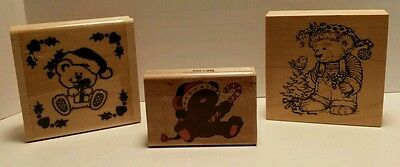 3 Wooden Christmas Bear Ink Rubber Stamps Stampers/Never Been Used.