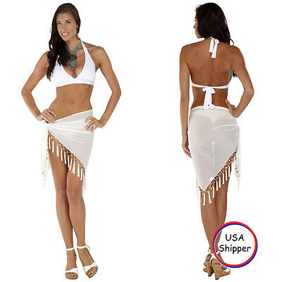 ebc7818d87 1 World Sarongs Sheer Sarong in White Swimsuit Beach Cover-Up Wrap Skirt  Pareo