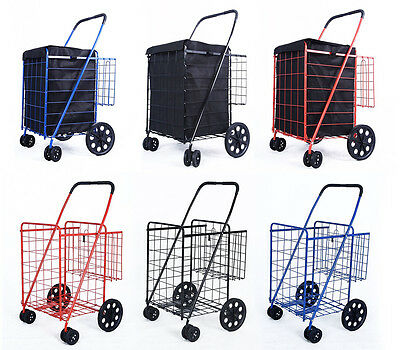 DLUX Shopping Cart with Swivel Wheels Jumbo Extra Basket Grocery Black Blue Red