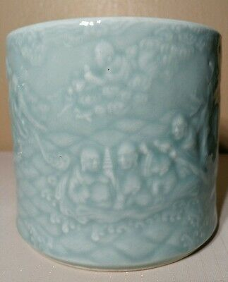 Important Antique Chinese Porcelain Brush Pot w/ Mark & Elders 18-1900 Celadon !