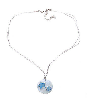 Starry Nights- Blue Star Embellished Shell /dual Silver Strands Necklace(Zx209)