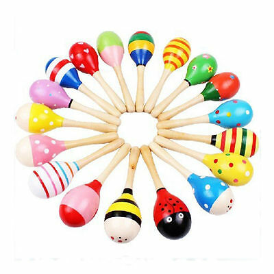 1PC Wooden Wood Maraca Rattles Shaker Percussion Kid Baby Musical Toy Gift New