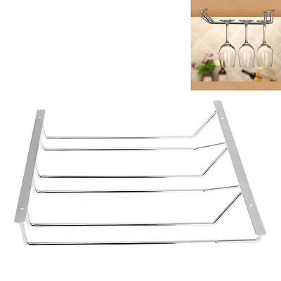 3 Rows Steel Stainless Wine Champagne Glass Cup Rack Holder Hanger New