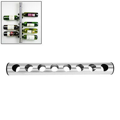 Stainless Steel Wine Rack Bar Wall Mounted Kitchen Holder 8 Bottles Hot