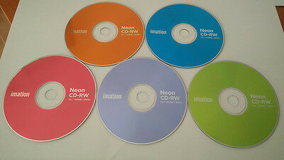 Imation CD-RW Neon 4x-12x 700Mb 80min Blank Discs Rewritable CDs