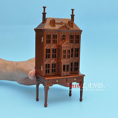 VICTORIAN DOLLHOUSE FOR DOLLHOUSE WITH TABLE WALNUT  (1:144) wood