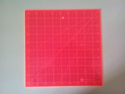 """9.5"""" inch SQUARE QUILTING RULER 9-1/2"""" X 9-1/2"""" SEWING TEMPLATE pink"""