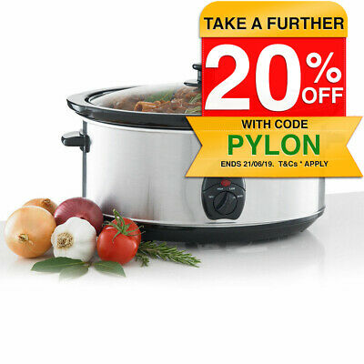 Maxim NSC-650 Stainless Steel Slow Cooker w/ 6.5L Litre Removable Ceramic Bowl