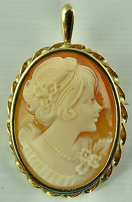 9ct yellow gold cameo brooch and / or pendant.