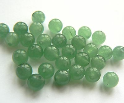 Beads - Gemstone Jade 6mm Rounds Mid Green Tones x 30 beads