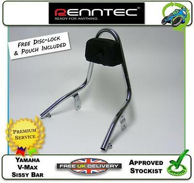 New Genuine Renntec Sissy Bar Grab Rail In Chrome Fits Yamaha V-Max Vmax 91 - 08
