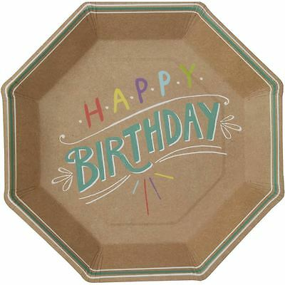 Hobbycraft Happy Birthday Kraft Paper Plates 8 Pack Party Catering Tableware